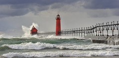 Grand Haven Lighthouse, Grand Haven Michigan (Michigan Nut) Tags: usa lighthouse storm green nature clouds geotagged photography pier waves lakemichigan recent grandhavenmichigan