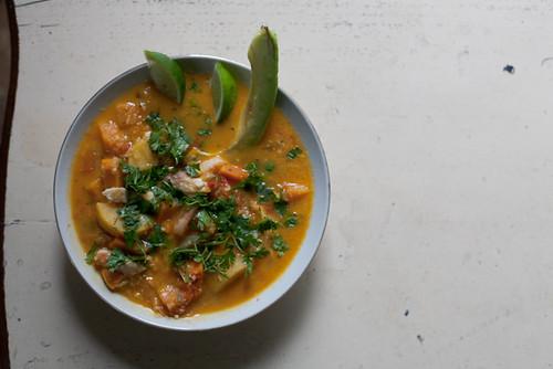 coconut fish squash soup