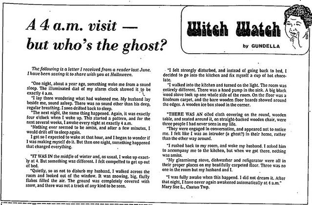 Witch Watch: A 4 a.m. visit -- but who's the ghost?