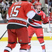 Tuomo Ruutu #15 and Jeff Skinner #53 celebrate Jeff Skinner's goal for the Hurricanes to take the lead 1-0 in a NHL game.  The Carolina Hurricanes defeated the Avalance 2-1 in overtime at the RBC Center.