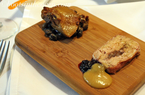 Duo of: Mustard Crusted Duck Leg Confit with Orca and Black Calypso Beans, Duck and Mission Fig Terrine with Wild Blueberry-Merlot Jam