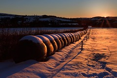"""In the lane, snow is glistening"" (Bren Cullen) Tags: ireland sunset snow photoshop canon eos farm 7d 24 bale 70 wicklow silage beehive f28 cs5"
