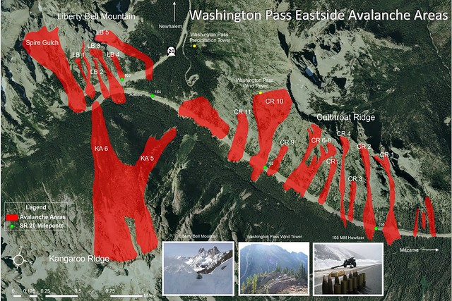 SR 20, North Cascades Highway Avalanche Map