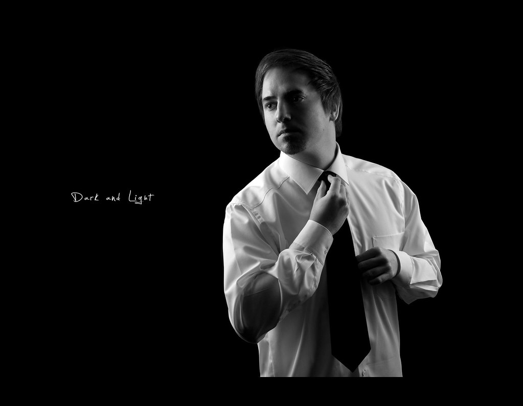 Day 124, 124/365, Project 365, Self Portrait, Strobist, Black and white, dark and light, dark, light, dressed up, shirt, tie, on black, black background, B&W, ourdailychallenge, project365, rimlight, PocketWizard Plus II, Pocket Wizard Plus II, 50mm, sigma 50mm f1.4