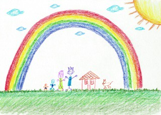 kids drawing of home