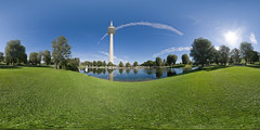 Olympiapark, Munich 360 - Equirectangular (daitoZen) Tags: sky urban panorama sun tower architecture germany munich mnchen outdoors deutschland bavaria photography europe day fotografie view pentax pano tag himmel 360 landmark panoramic fisheye munchen olympic grad 1972 parc 360x180 muenchen degree olympiaturm olympiapark spheric  ptgui equirectangular kugelpanorama 1017mm k20d sphrisch panomaxx 12000x6000px