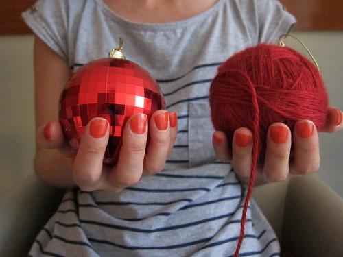 bola de natal de lã
