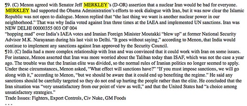 Jeff Merkley, leaked cable