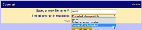 Choose the 'Remove all embedded art' rule to remove the art from MP3s
