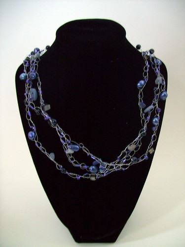 "Crochet ""Blues"" Necklace w/Silver Wire & Clasp"