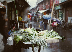 Frozen vegetable cart at Ninghe Lu (avezink) Tags: china snow slr film analog canon se december shanghai kodak   eos30 oldtown moviefilm  5279  500t kodakvision500t  penglailu ninghelu gettyimageschinaq1