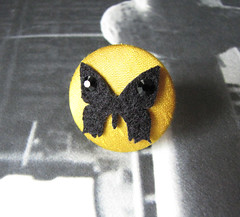 Black Butterfly Ring (milkypunch) Tags: woman black cute girl yellow night butterfly handmade silk craft felt ring gift accessories etsy raven rhinestone handcraft accessory fabriccovered
