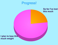 pie chart showing 23% of total weight loss achieved