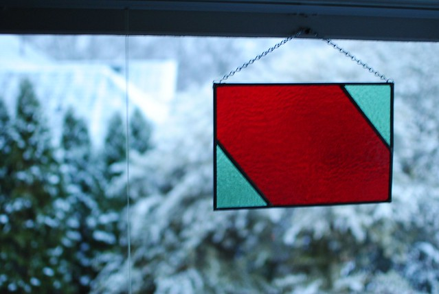 stained glass and snow