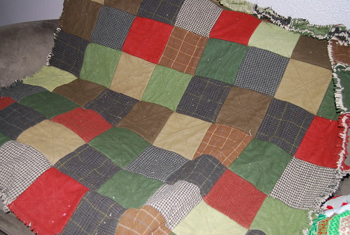 back of wool rag quilt