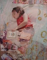 Madeleine (Ann Marshall Art) Tags: pink sleeping portrait art girl collage painting book pattern child purple fineart dream lavender klimt dreaming madeleine gustavklimt oilpainting papercollage figurativeart portraitpainting childsportrait girlsportrait annmarshall commissionedportrait childholdingbook modernportraitart chestersway