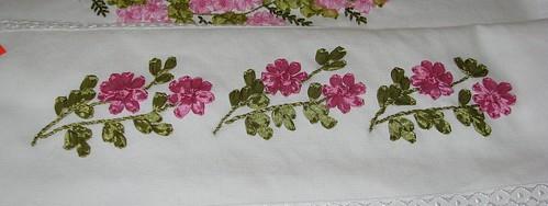 kurdele nakışı çiçekli havlu