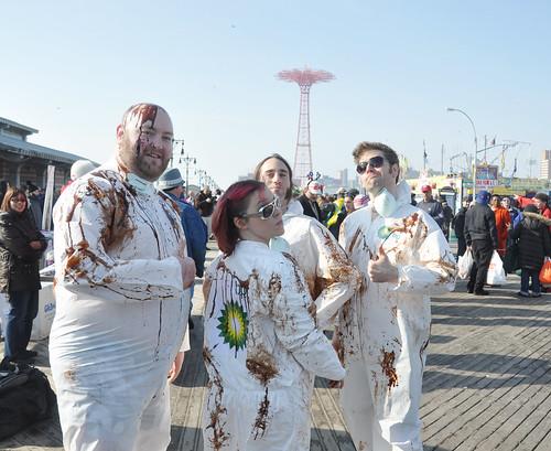 BP Protesters Coney Island Polar Bear Swim New Year's Day 2011