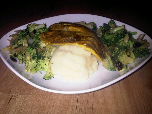 Celeriac puree, curry tilapia and broccoli