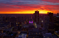 vancouver is on fire (Matthew P Sharp) Tags: sunset red night vancouver fire britishcolumbia vivid 7d nightview harbourcentre