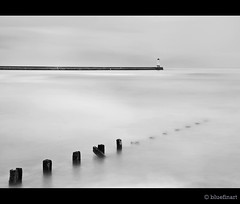 Winter Posts (blue fin art) Tags: longexposure winter sea bw lighthouse beach canon north northumberland 7d posts berwickupontweed spittal