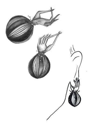 jewellery. mutation. gli orecchini (santagoreva) Tags: inspiration leather pencils silver design hands drawing mani poppies accessories earrings jewel mutation papaveri jewellary kohinoor orecchini papamani