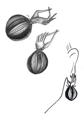 jewellery. mutation. gli orecchini (santagoreva) Tags: inspiration leather pencils silver design hands drawing mani poppies accessories earrings jewel mutation papaveri jewellary kohinoor orecchini papamani