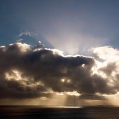 Exit Metatron (ecstaticist) Tags: ocean blue sky cloud canada water gold ray pattern bc pentax columbia victoria british atmospheric phenomenon helijet kx metatron