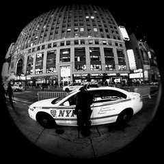 Police On The Scene (nathanswan) Tags: street nyc white newyork black monochrome car respect police nypd monotone fisheye policecar grayscale courtesy professionalism bubbagumpshrimpco nathanswan