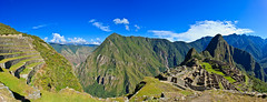 Machu Picchu Pano 4 (Kelly Cheng) Tags: travel blue panorama mountain color colour building heritage tour