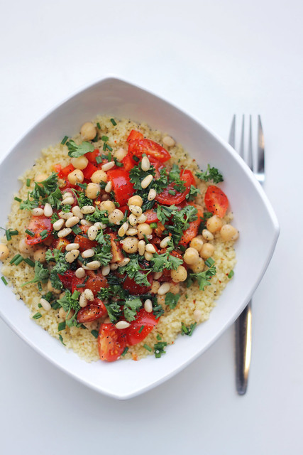 Red pepper, Chickpeas and Cherry Tomatoes Couscous