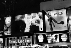 Screen on Time Square (Rotdenken (Jules Rigobert)) Tags: city nyc newyorkcity blackandwhite bw usa ny newyork film america square town photo flickr foto unitedstates coldplay noiretblanc manhattan elle ciudad nb timessquare stadt sw times pubs amerika dreamland adds screens ville écrans argentique città footlocker 21stcentury amérique etatsunis unitesstatesofamerica schwarzundweis xxiesiècle rotdenken julesrigobert