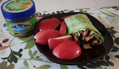 blue diamond almond butter, pink lady apple, Red Robin chicken wrap