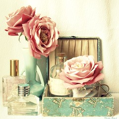 Faded Charms (Trisha Brink Design) Tags: pink blue light roses white beautiful yellow table bathroom bottle bath aqua soft pretty perfume sweet turquoise feminine pastel dressing vase romantic lovely ralphlauren powderroom lollia trishabrinkdesign