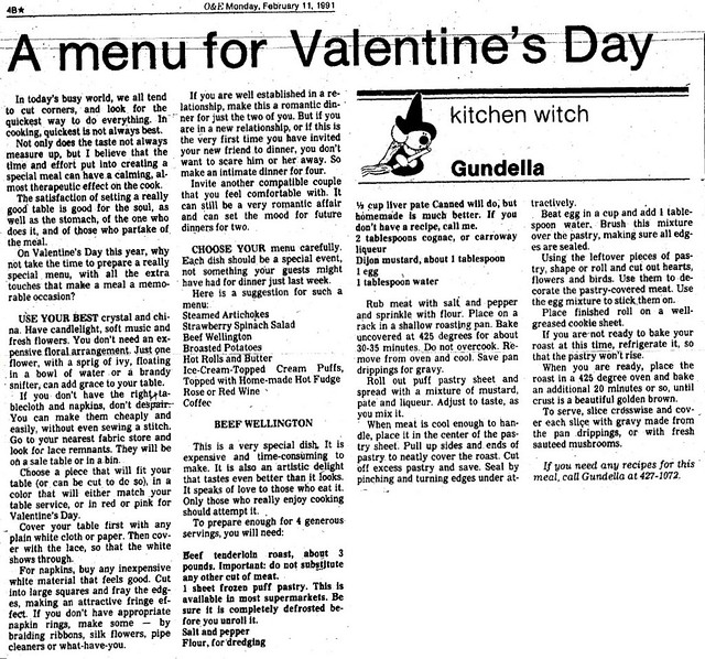 Kitchen Witch: A menu for Valentine's Day