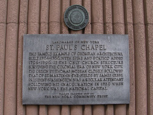 Plaque on St Pauls Chapel NYC