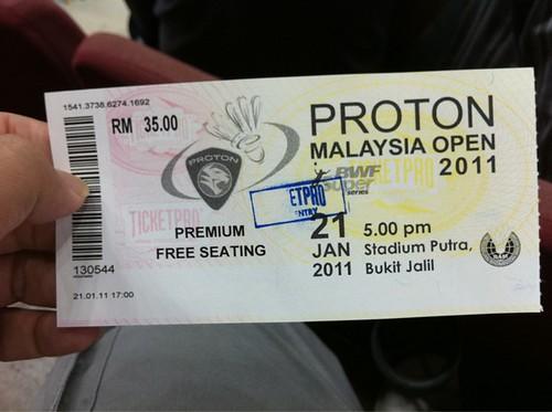 Malaysia Open 2011 Ticket