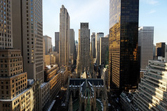 Midtown Manhattan Morning, New York City (andrew c mace) Tags: above nyc newyorkcity morning roof urban newyork rooftop skyline cityscape manhattan stpatrickscathedral rockefellercenter wideangle tokina1224 aerial midtown palacehotel gebuilding 27thfloor photomatix newyorkpalace colorefex nikoncapturenx nikond90