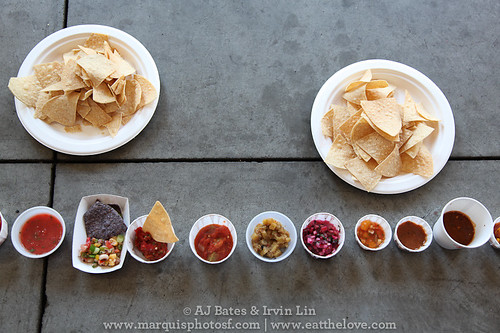 sixteen types of salsa to sample