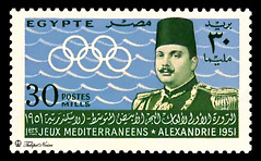 A 30 Millimes Stamp, On The Occasion Of The First Mediterranean Games Held at Alexandria, Issued On October 5, 1951 (C) (Tulipe Noire) Tags: africa alexandria 30 mediterranean king egypt middleeast first games farouk stamp 1950s egyptian mills 1951 millimes