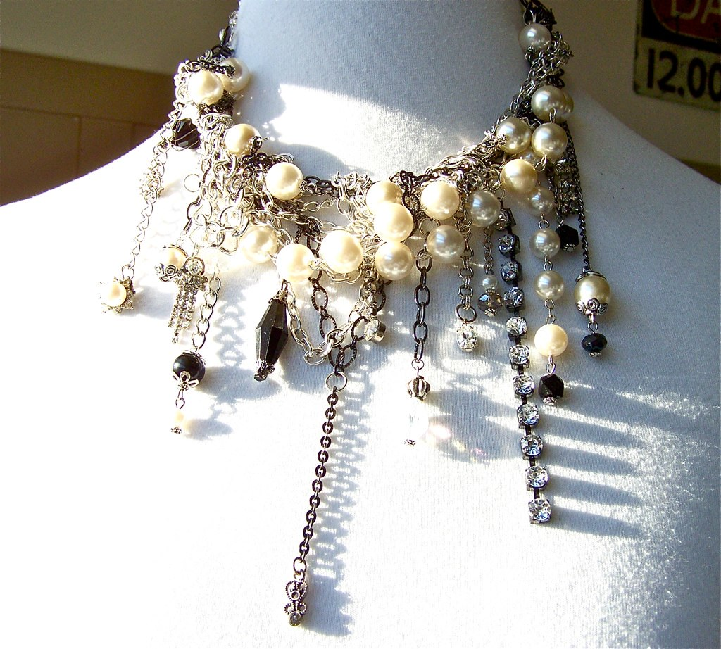 Necklace, Chains of Glamour, Silver Chains, Rhinestones, Charms, Pearls, Vintage Repurposed Jewelry