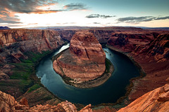 Horseshoe Bend 1 (Steve's Reflections) Tags: sunset sky clouds coloradoriver horseshoebend pageaz horseshoebendfuzed