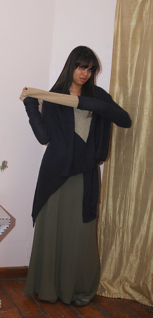 h&m maxi skirt sweater outfit