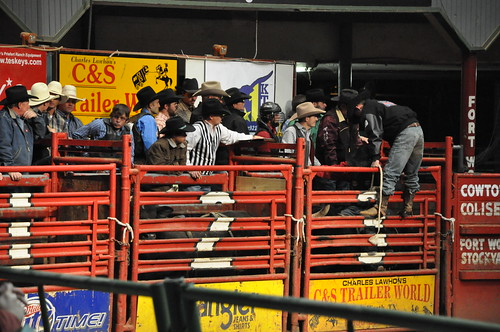 Bull riders getting ready