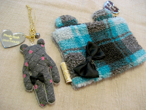 Bear cosmetic pouch and a bag charm from Plush&Lush
