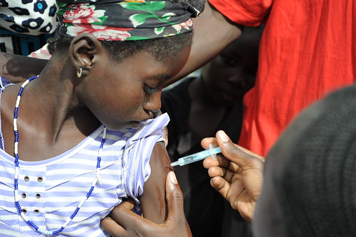 Young girl receives MenAfriVac™ shot in Burkina Faso