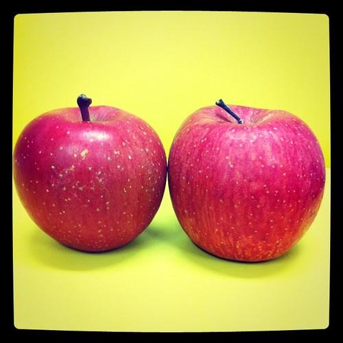右が青森りんご、左が信州りんご