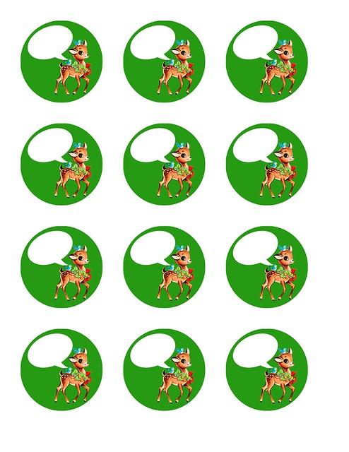 vintage Christmas reindeer- green