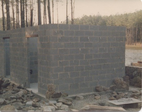 block masonry used in traditional stonework on this home in Kightdale, North Carolina