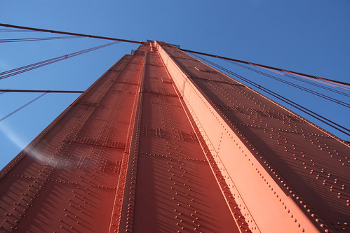 Looking up the Golden Gate Bridge tower